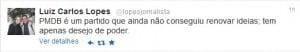 Postagem do jornalista Luiz Carlos Lopes no Twitter, hoje
