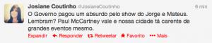 Postagem da jornalista Josiane Coutinho