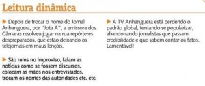 Notas do Pampinha em sua coluna no DM: enxurrada críticas ao jornalismo da TV Anhanguera