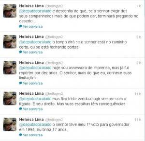Imagem das opiniões da jornalista sobre Caiado postadas no Twitter
