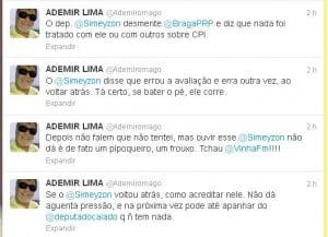 Imagem dos tweets de Mago criticando a posição do deputado Simeyzon