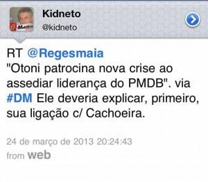 Postagem do ex-secretário geral do PMDB
