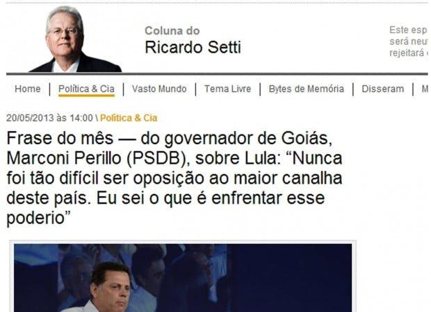 """BLOG CLEUBER CARLOS: Frase do Mês: """"Lula é Um Canalha"""""""