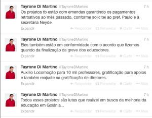 Tweets de Tayrone na tarde desta terça-feira